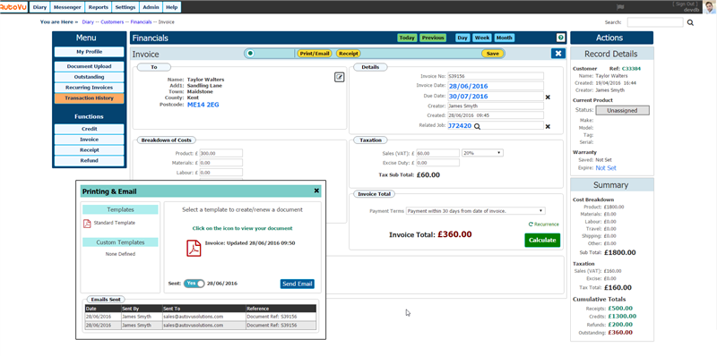AutoVu Solutions Invoicing