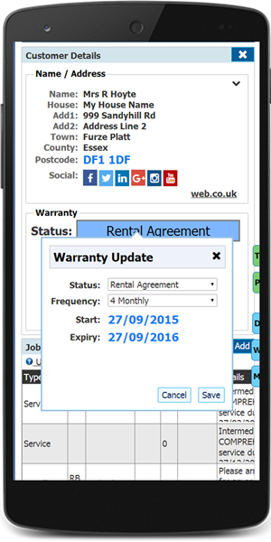 CRM Customer warranty update