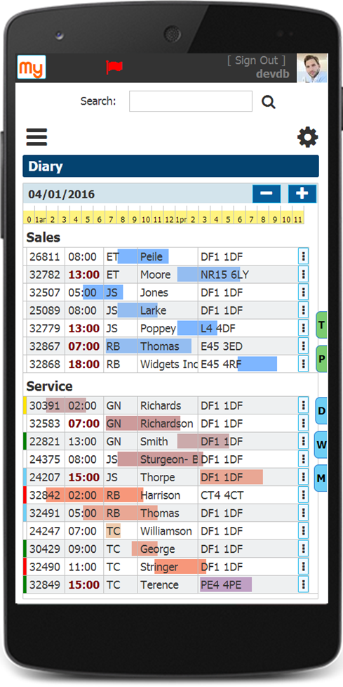 Appointment Diary CRM on Mobile Device
