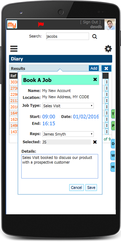 Booking Field Service CRM call on mobile device