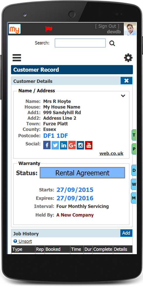 My Field CRM Customer Record On Mobile Device