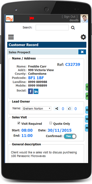 Sales Prospect record on mobile device