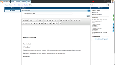 CRM online HTML Editor Quote