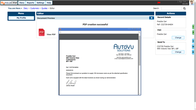 CRM online HTML Editor PDF Creation